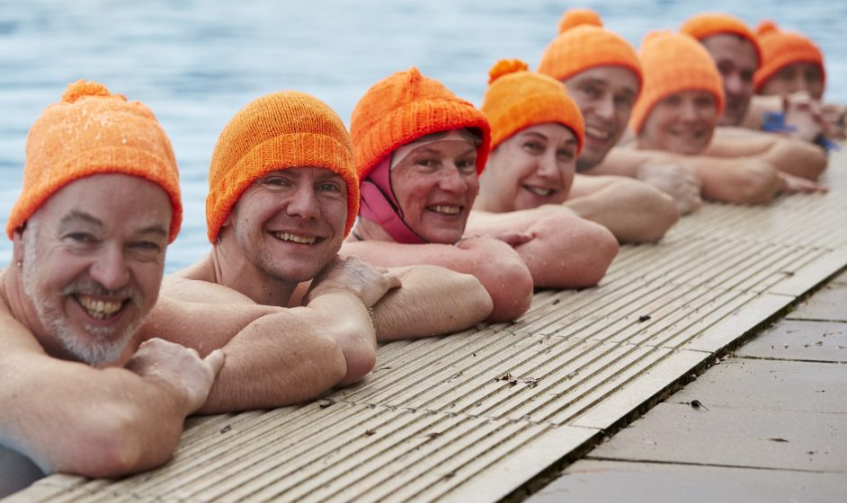 Image: Swimmers on Woolly Hat Day
