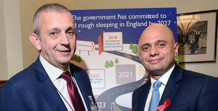St Mungo's Chief Executive Howard Sinclair with Sajid Javid, Secretary of State for Communities and Local Government