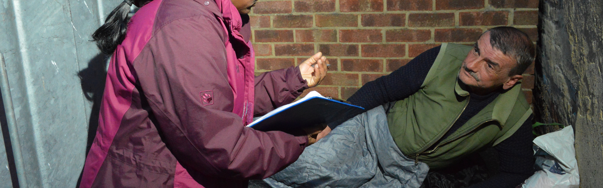Image: Outreach worker and person sleeping rough