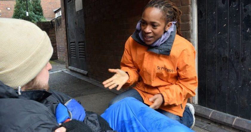 Image: St Mungo's outreach worker with person sleeping rough