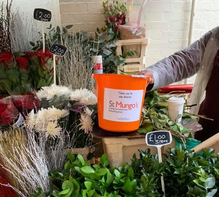 Image: Flowers and St Mungo's Bucket Collection