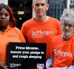 Photo of Dominic Williamson (centre) with St Mungo's clients and Campaigns team at No. 10