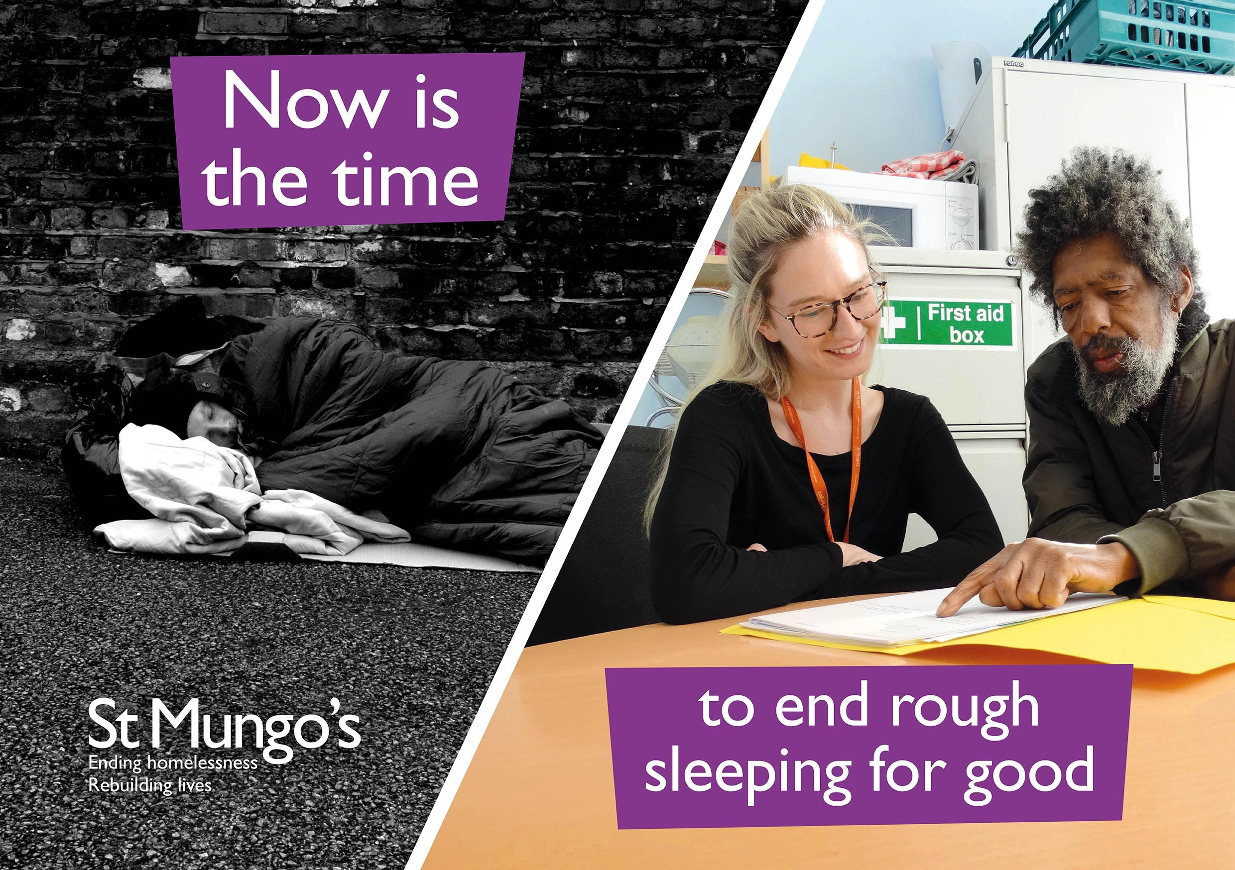 An image of a person sleeping rough alongside an image of a support worker providing support to a St Mungo's client